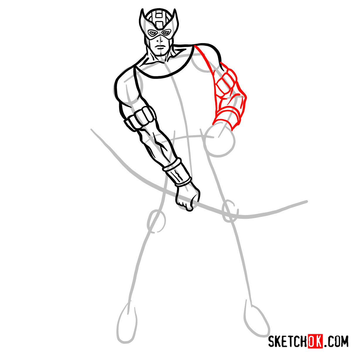 How to draw Hawkeye in a suit and mask - step 08