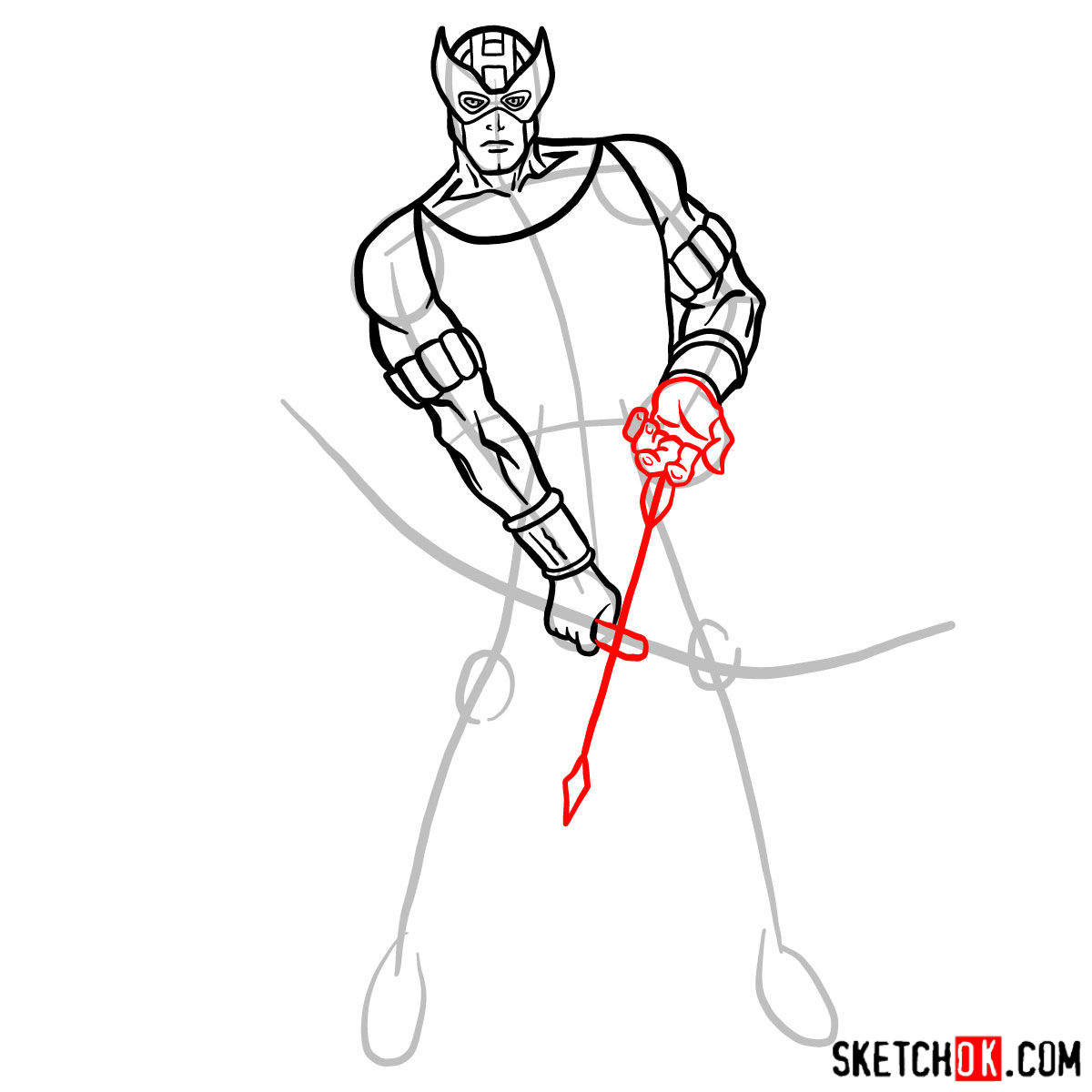 How to draw Hawkeye in a suit and mask - step 09
