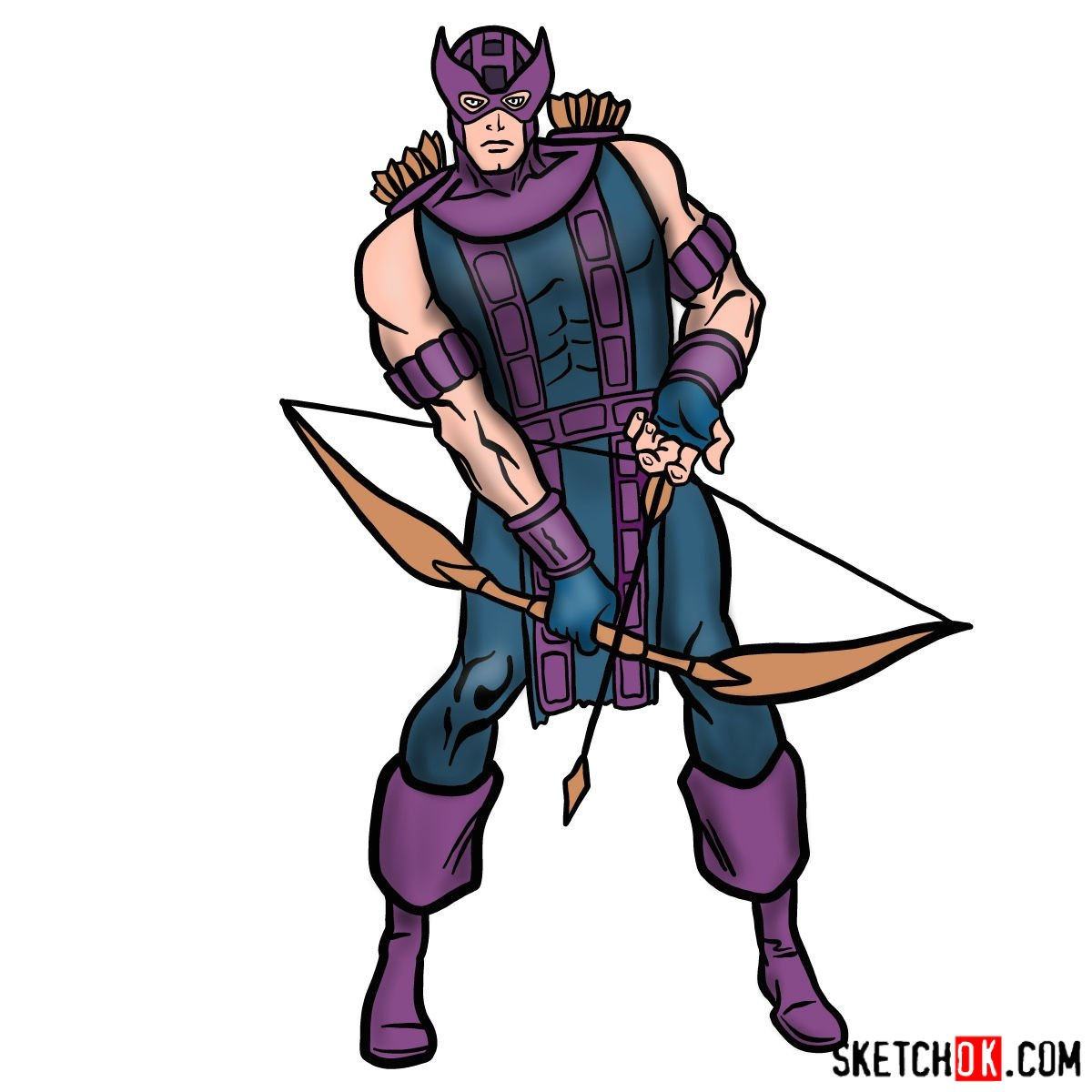 How to draw Hawkeye in a suit and mask - coloring