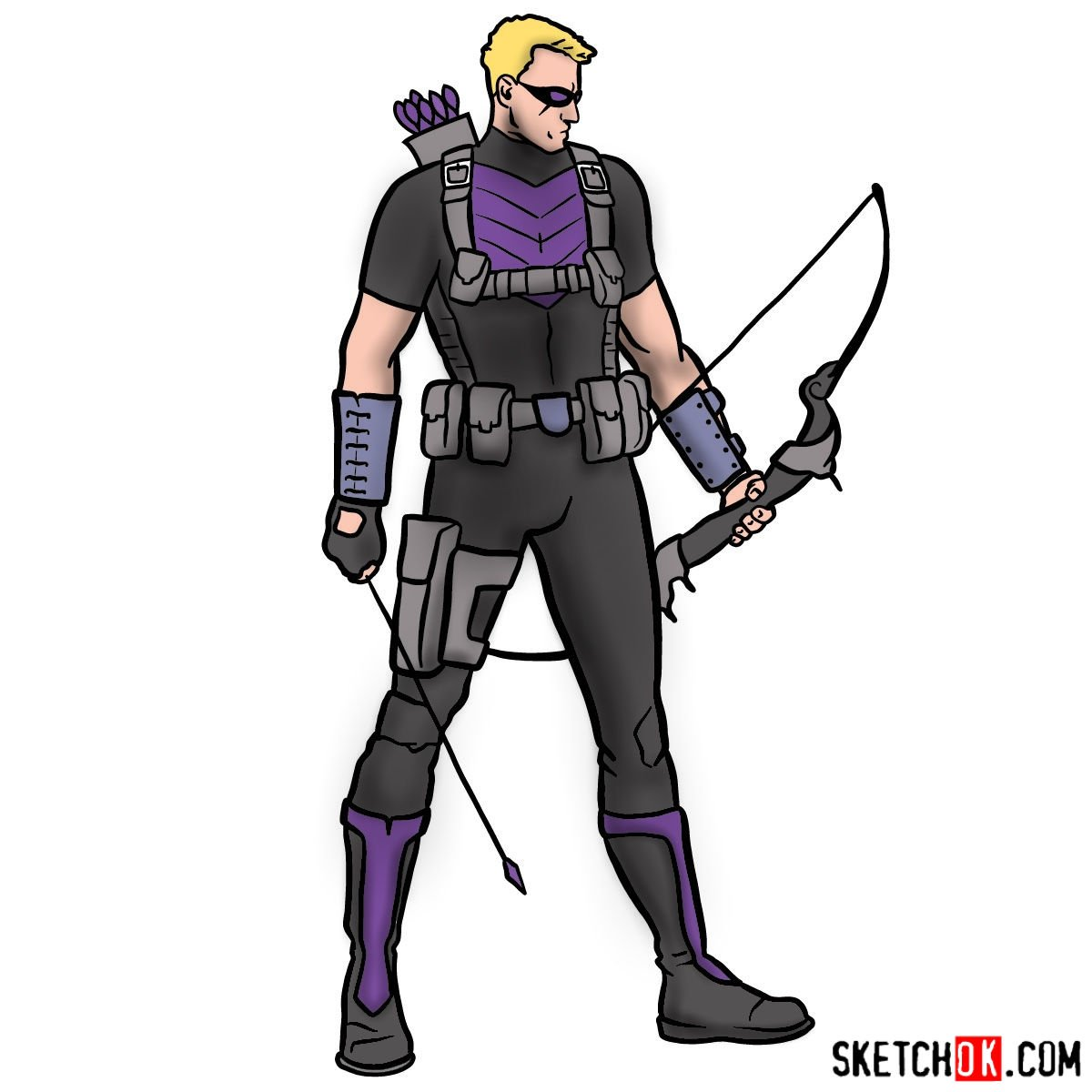 How to draw Hawkeye from Marvel comic books - coloring