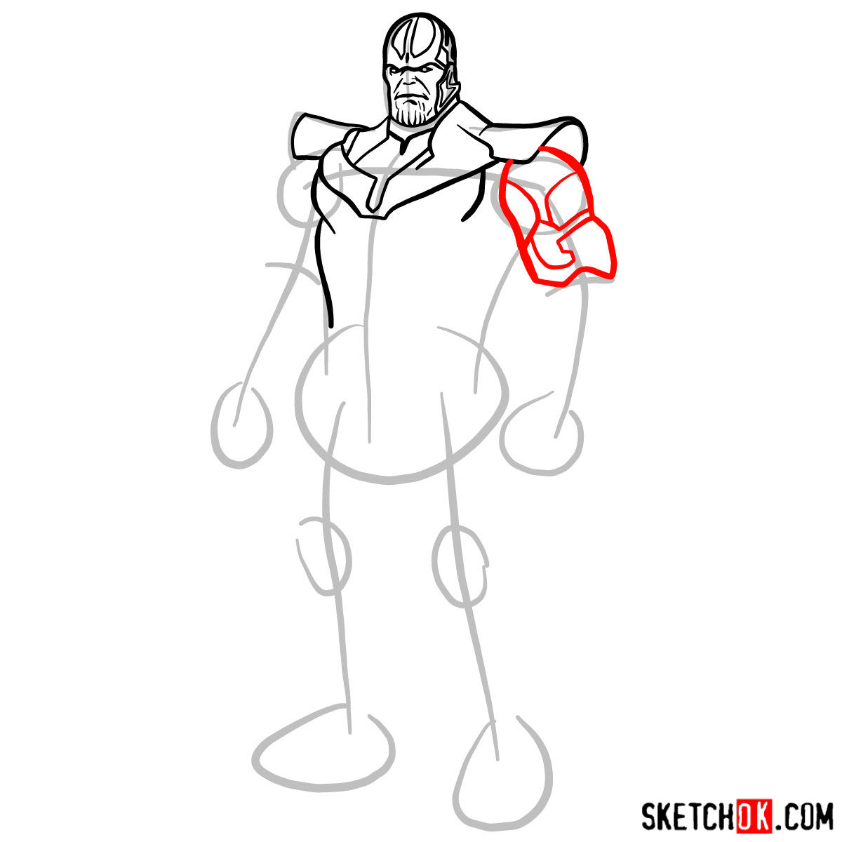 How to draw Thanos in his suit - step 07