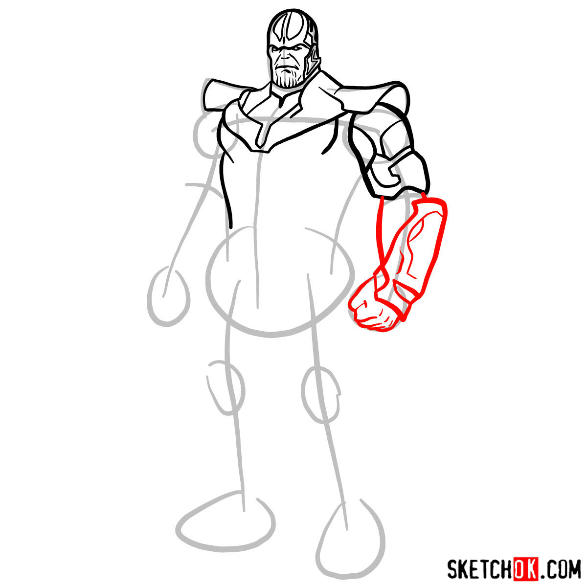 How to draw Thanos in his suit - step 08