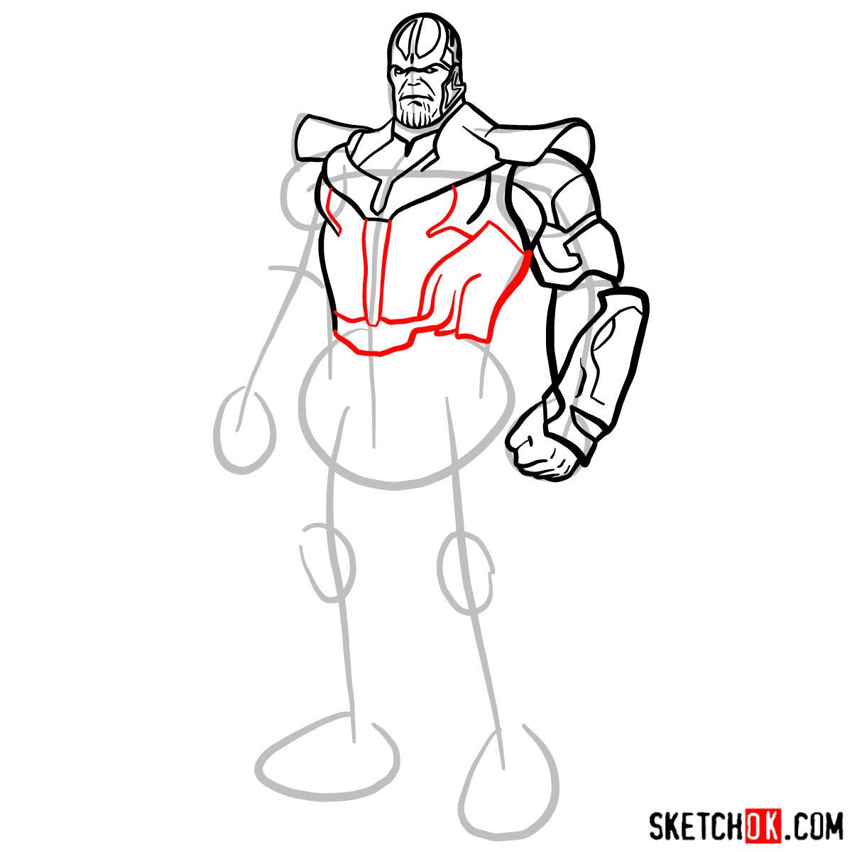 How to draw Thanos in his suit - step 09