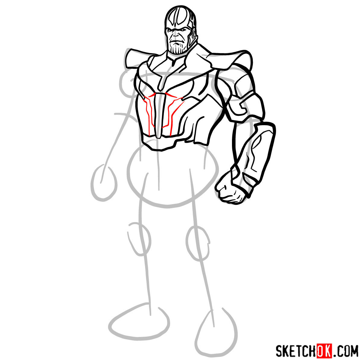 How to draw Thanos in his suit - step 10