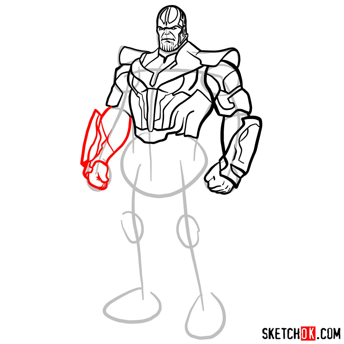How to draw Thanos in his suit - step 12
