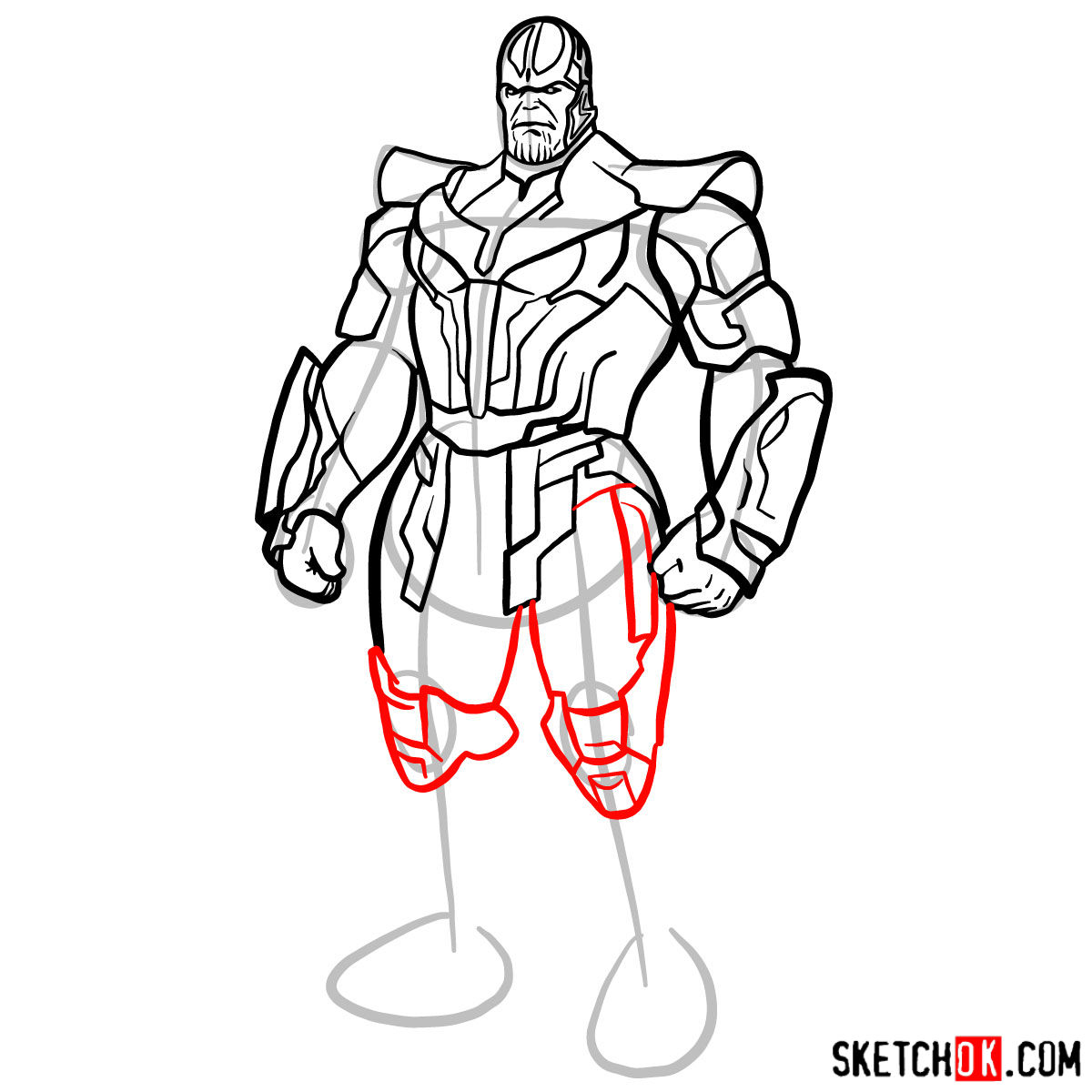 How to draw Thanos in his suit - step 14