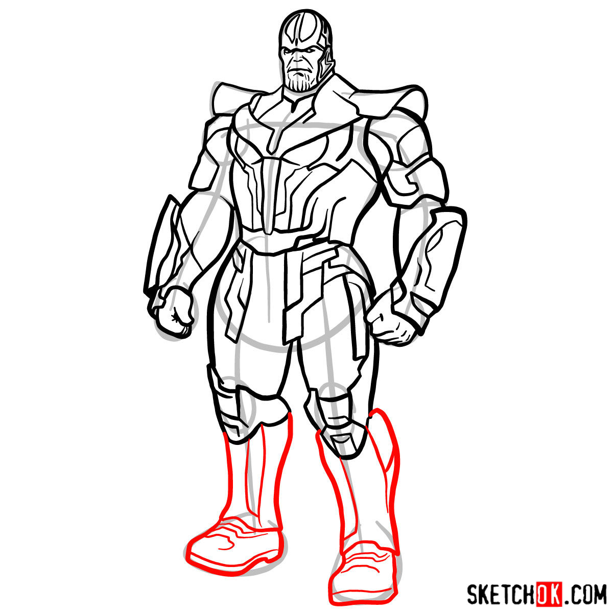 How to draw Thanos in his suit - step 15
