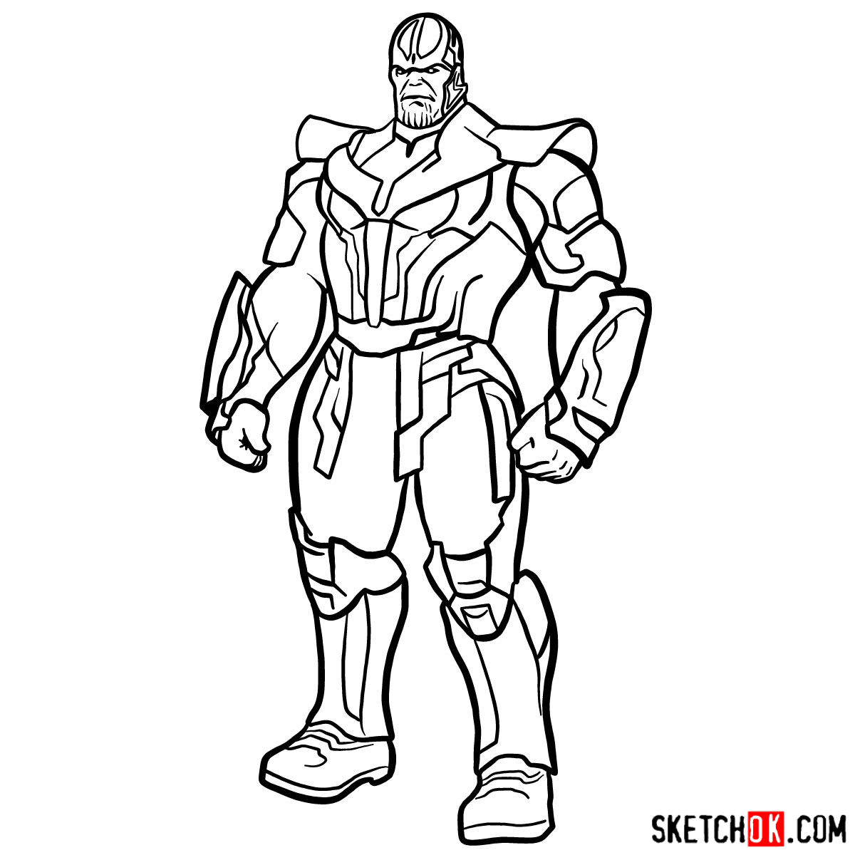 How to draw Thanos in his suit - step 16
