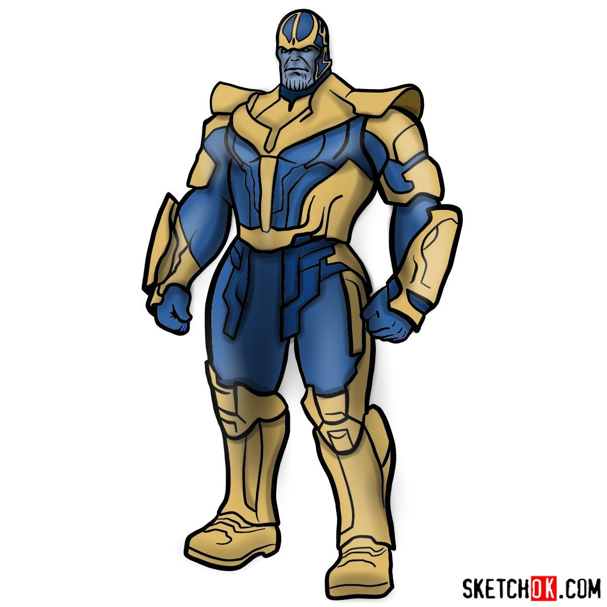 How to draw Thanos in his suit