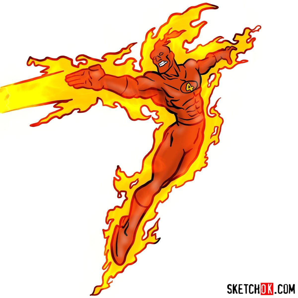 How to draw The Human Torch from Fantastic Four