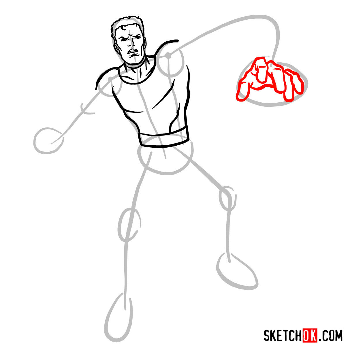 How to draw Mister Fantastic from Fantastic Four - step 06