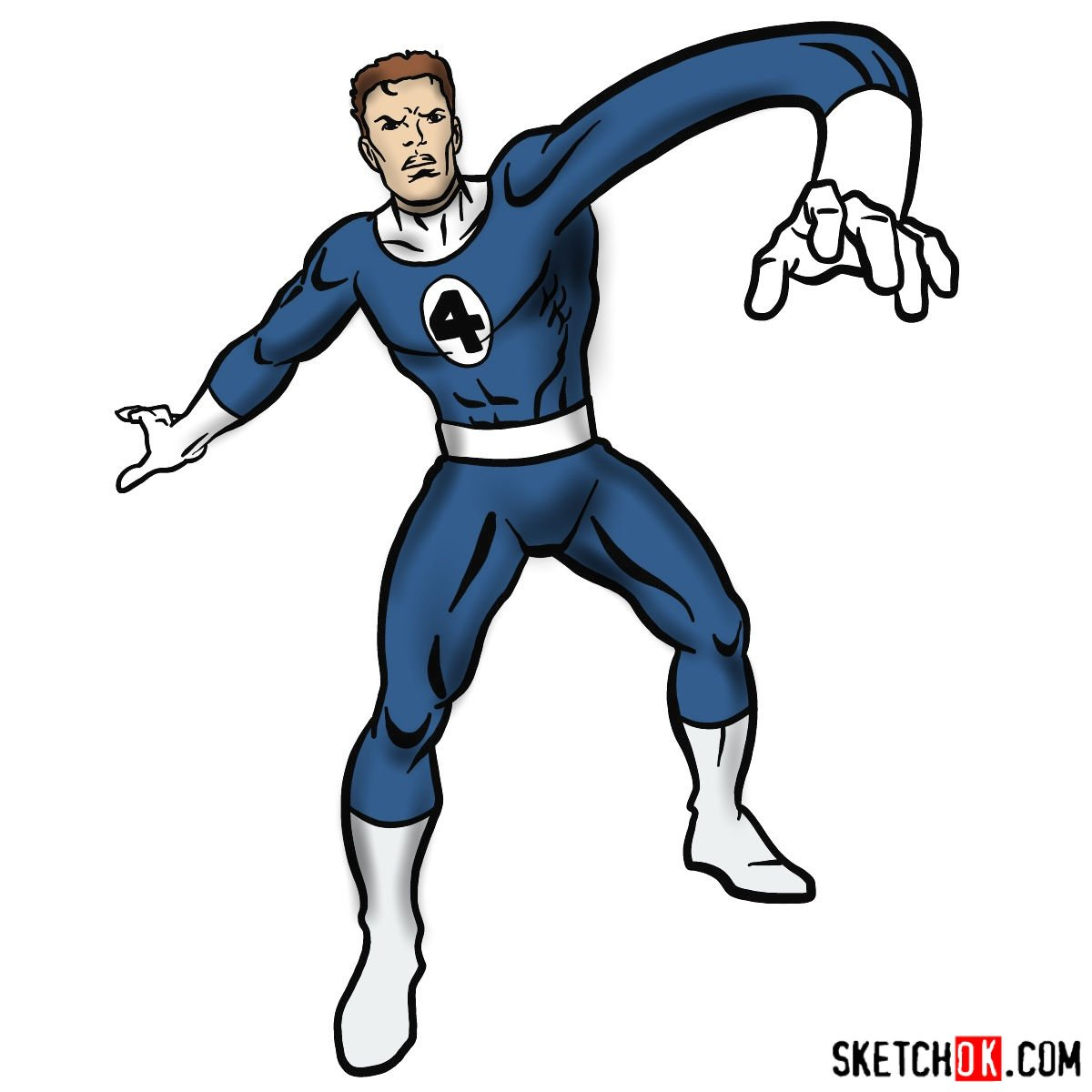 How to draw Mister Fantastic from Fantastic Four