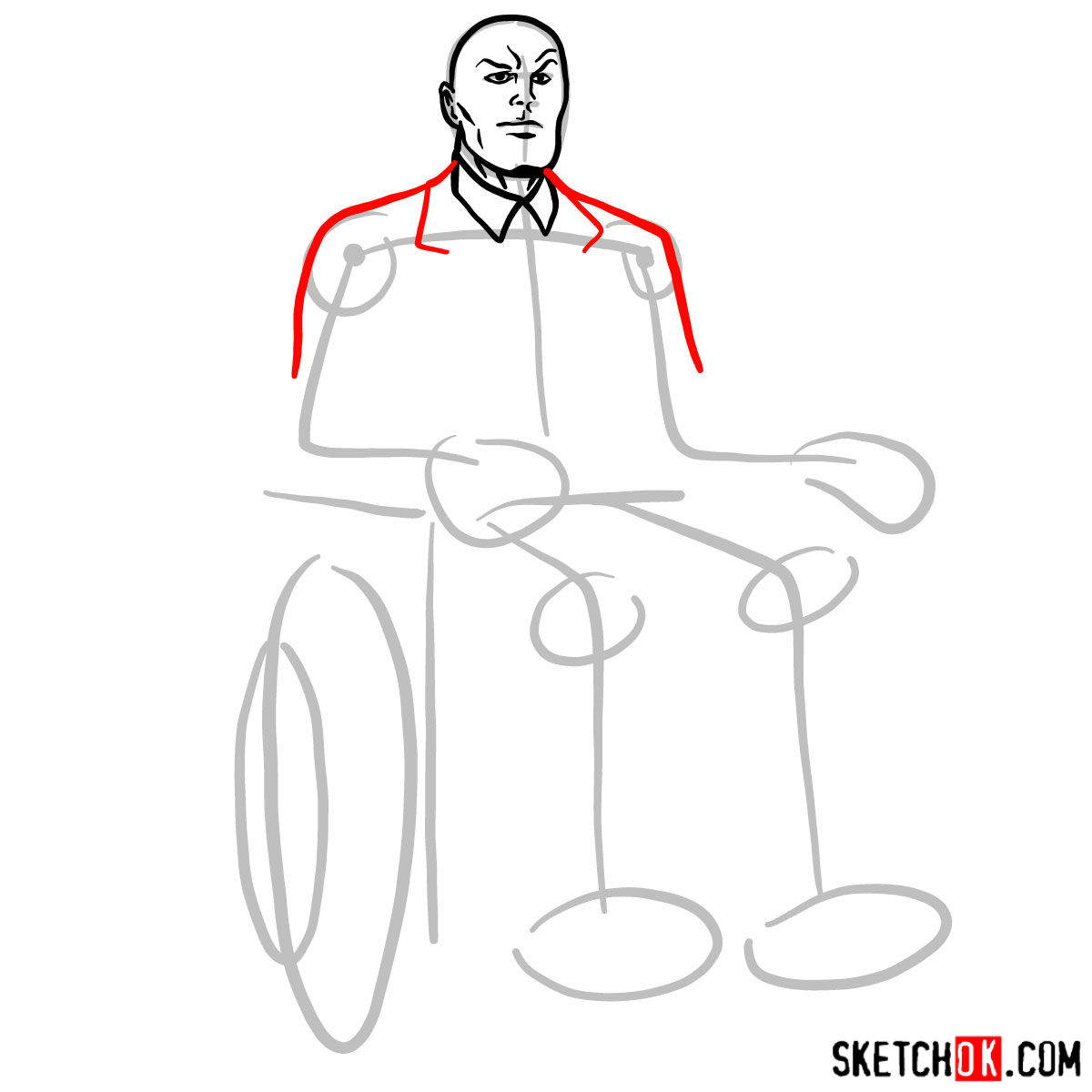 How to draw Professor X - step 05
