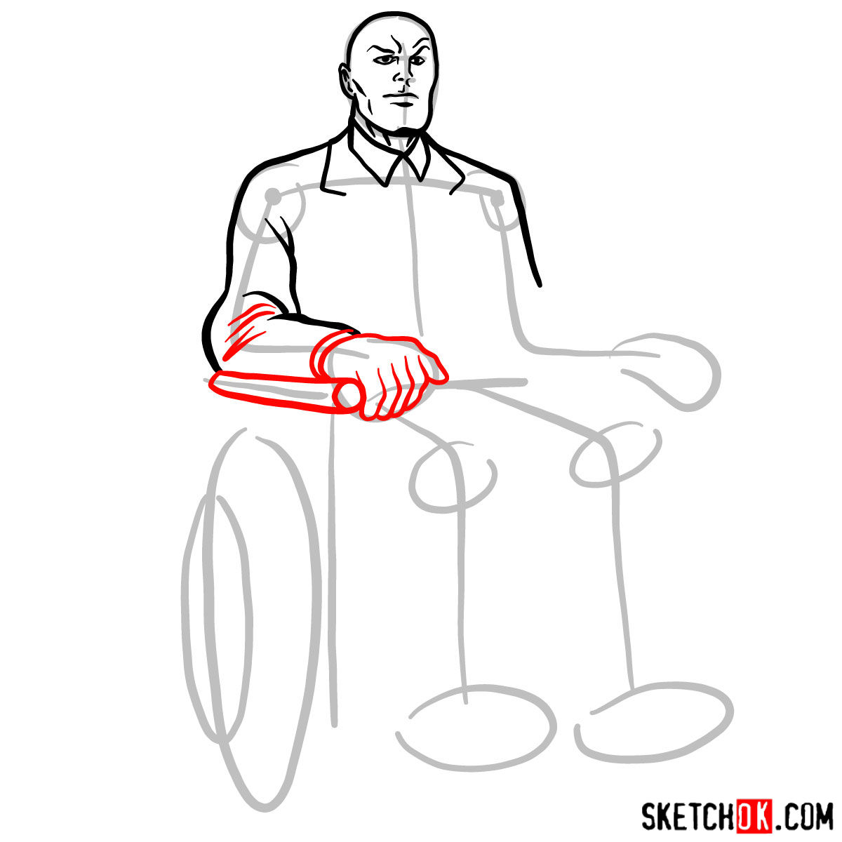 How to draw Professor X - step 07