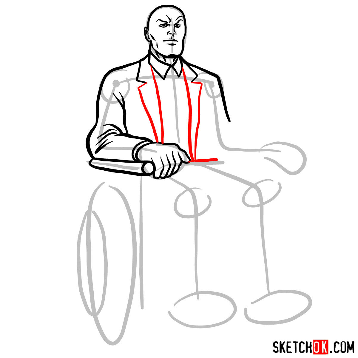 How to draw Professor X - step 08