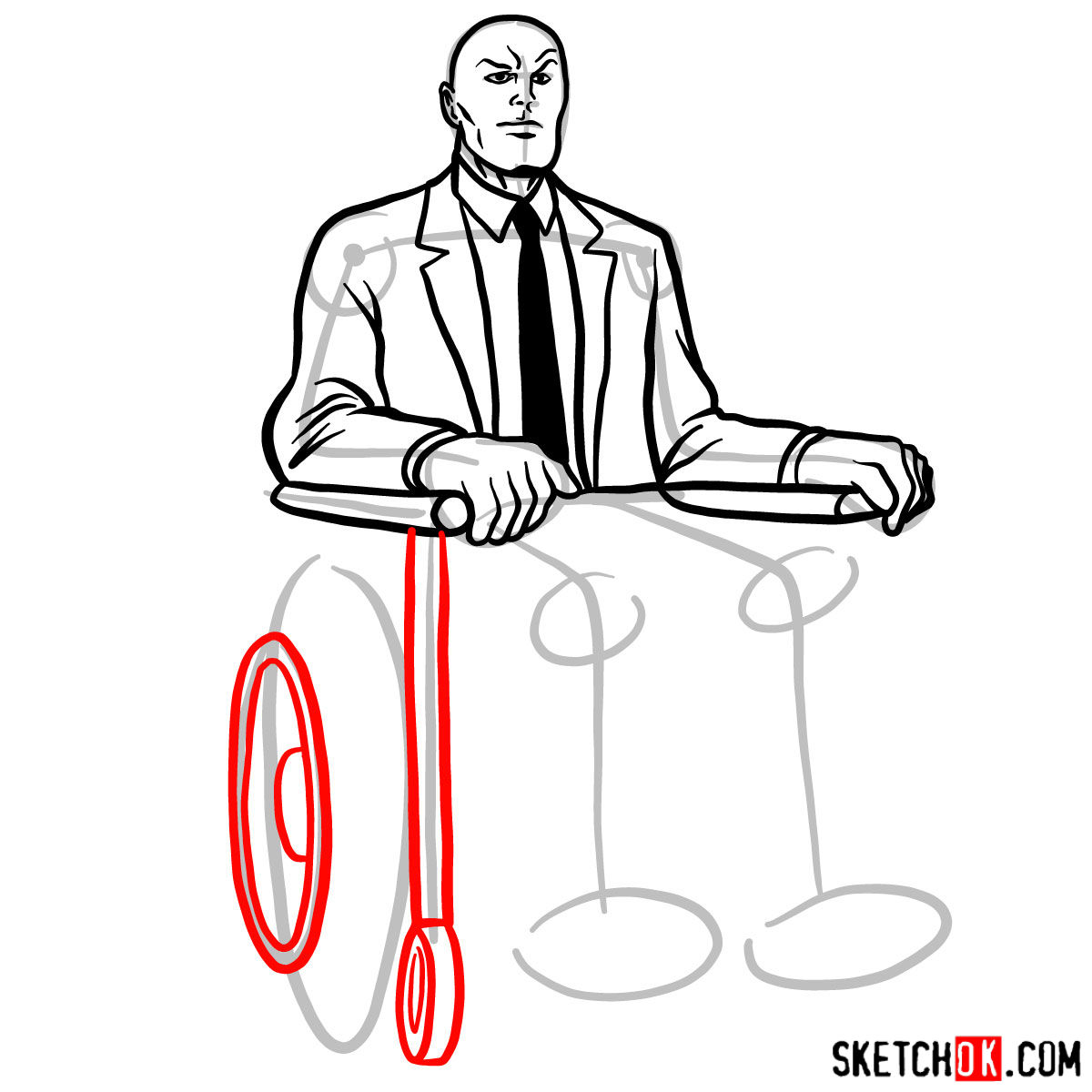 How to draw Professor X - step 12