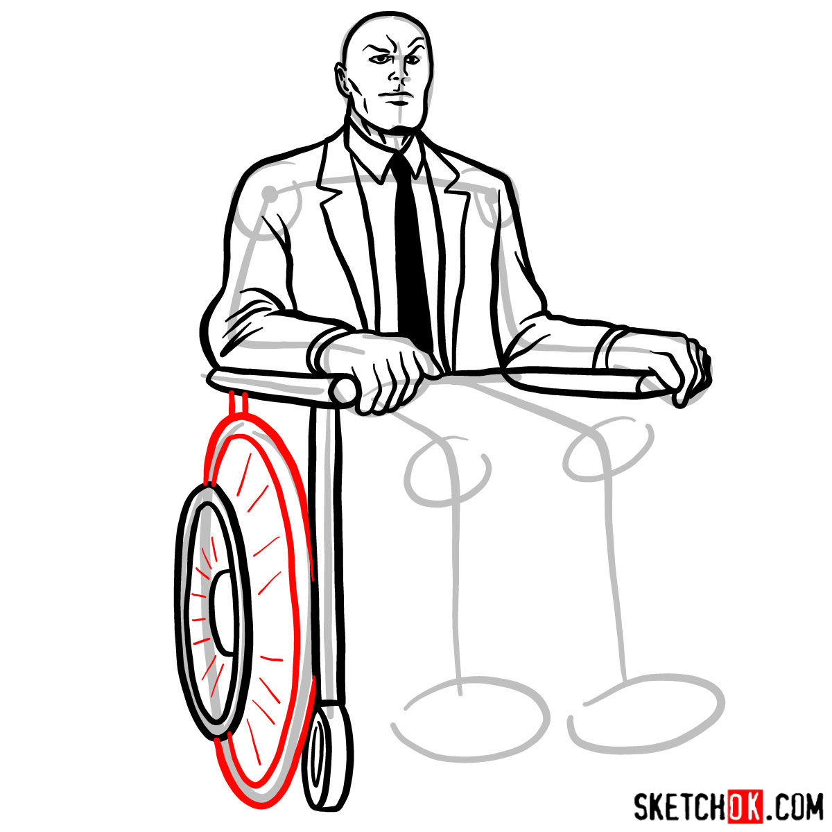 How to draw Professor X - step 13