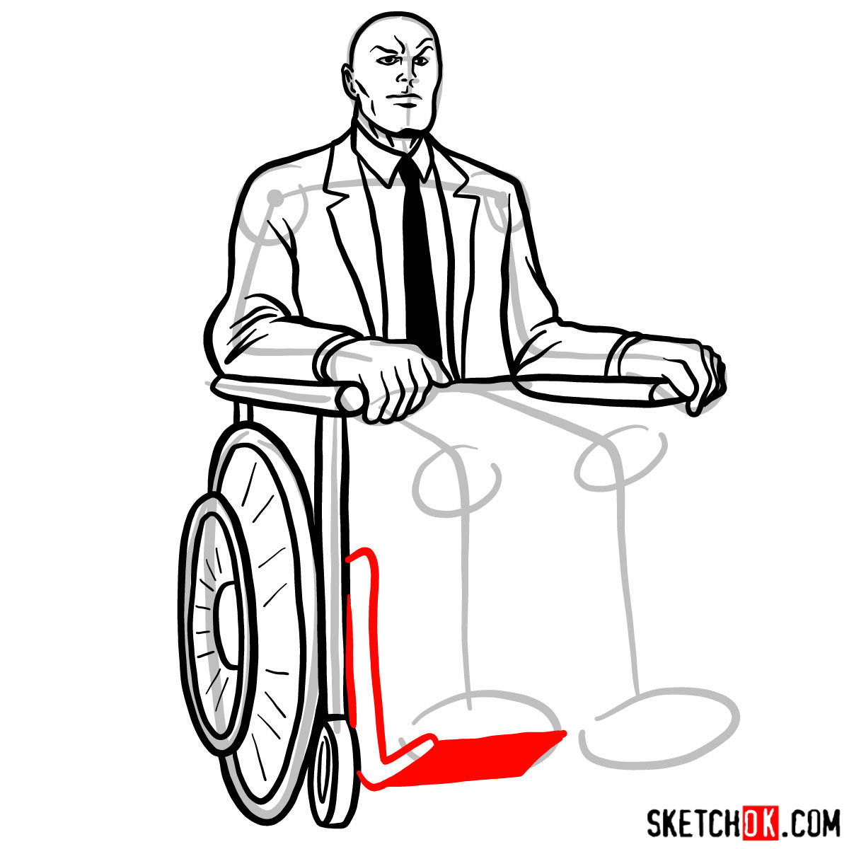 How to draw Professor X - step 14