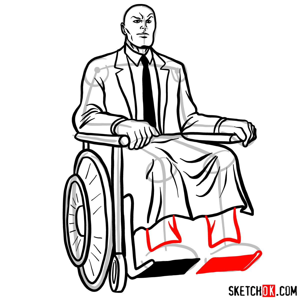 How to draw Professor X - step 16