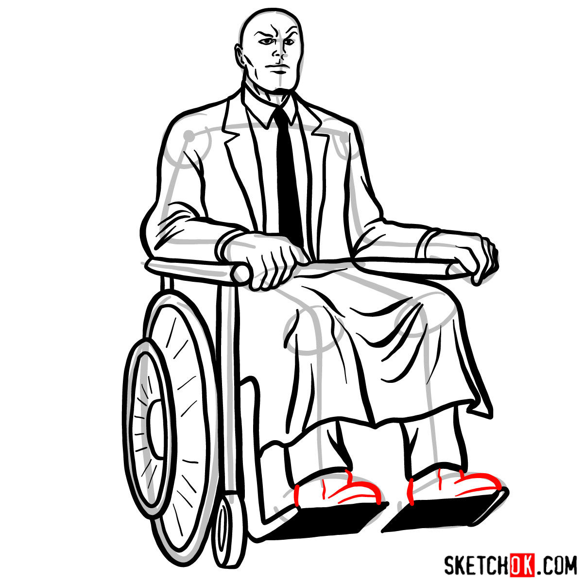 How to draw Professor X - step 17