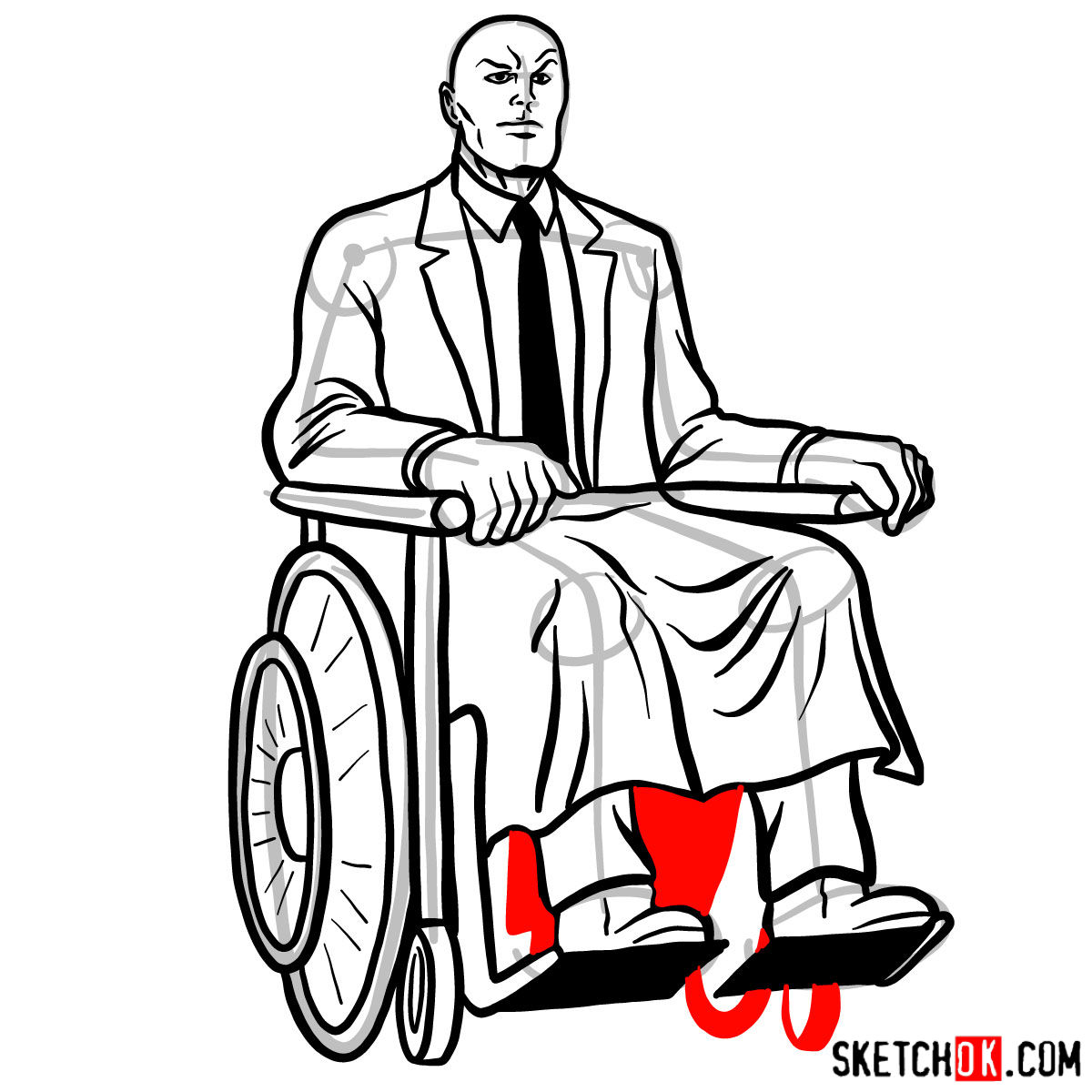 How to draw Professor X - step 18