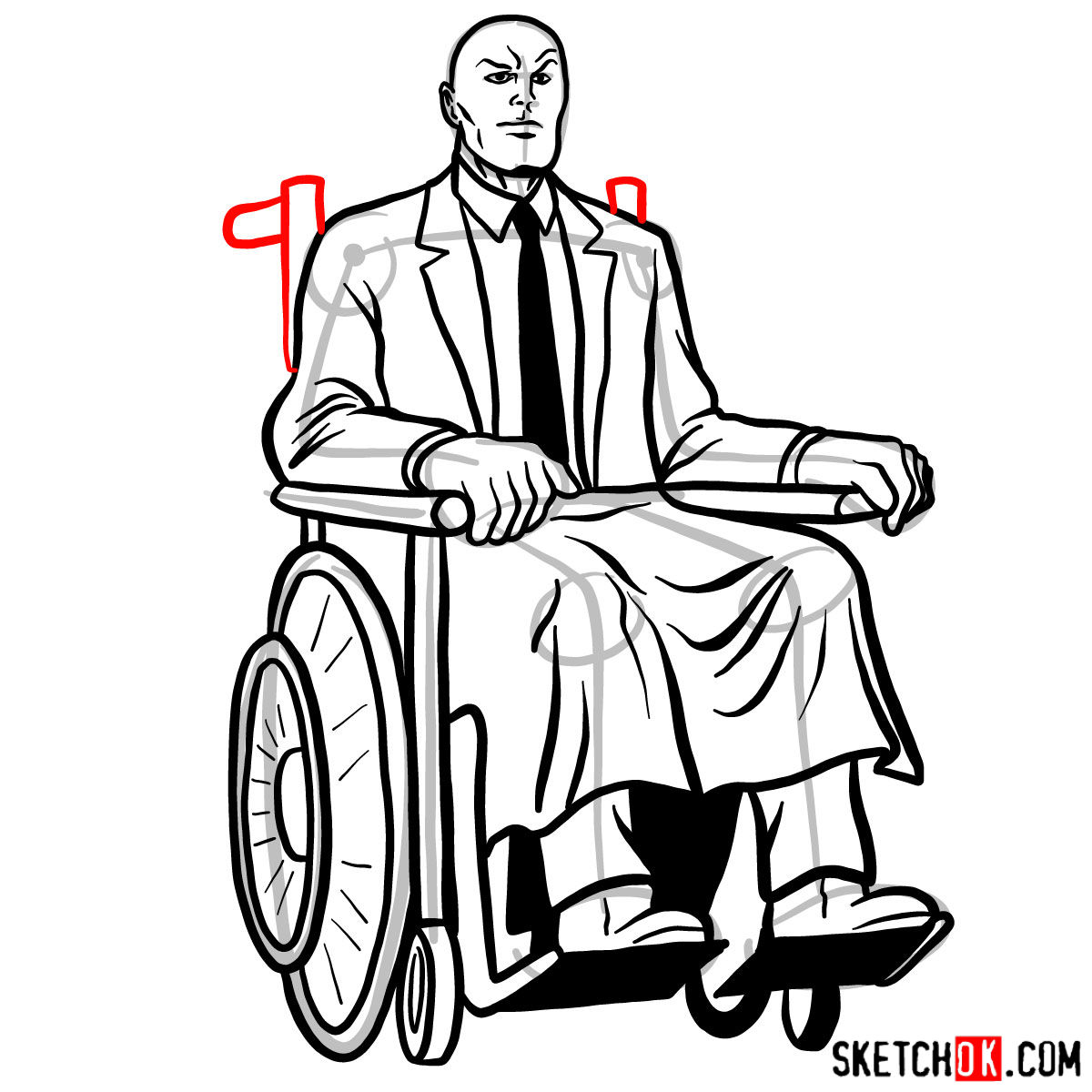 How to draw Professor X - step 19