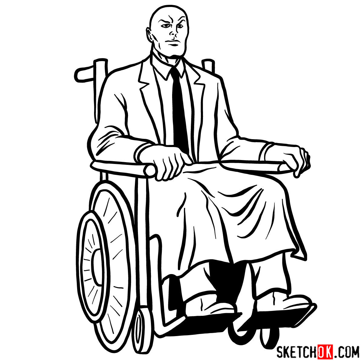 How to draw Professor X - step 20