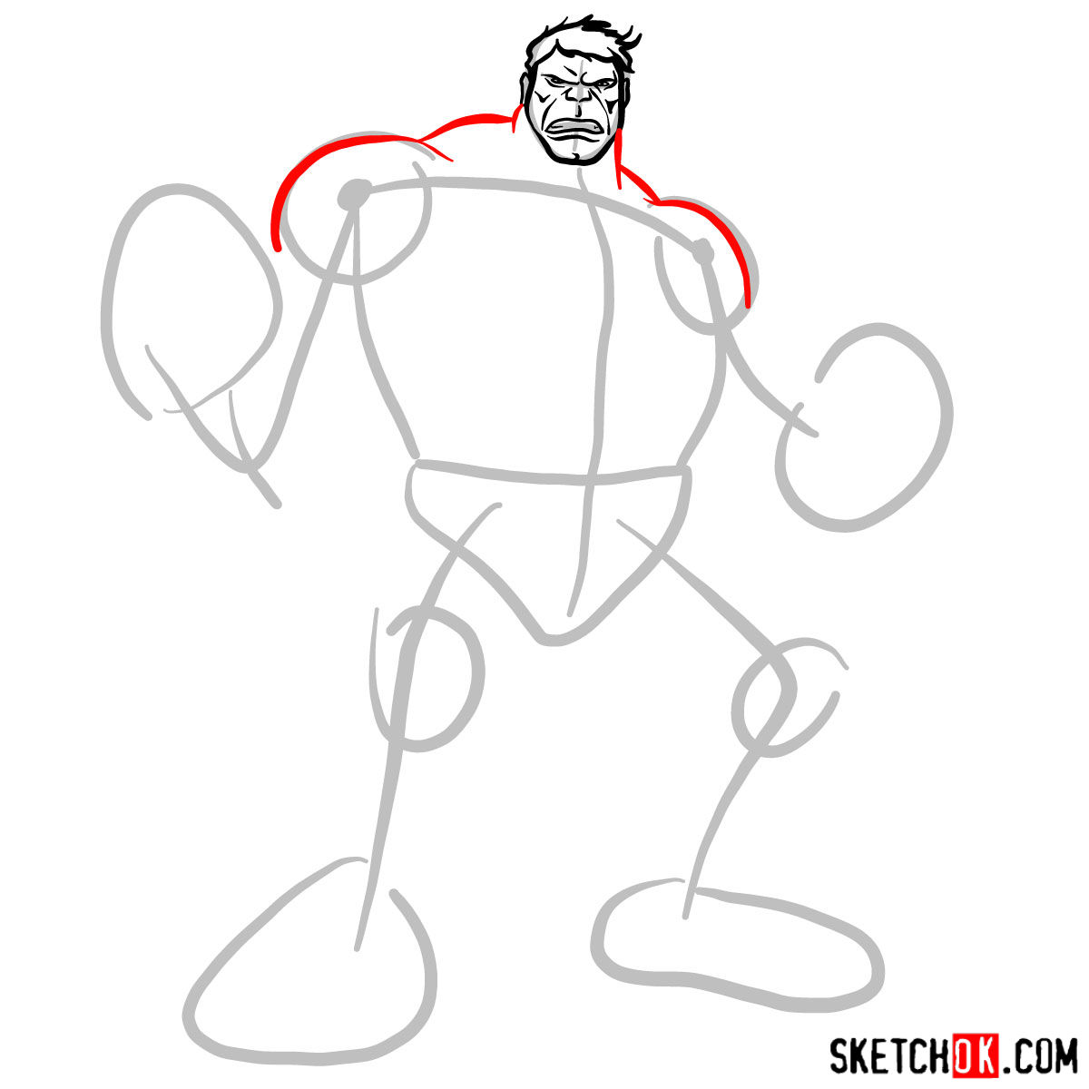 How to draw The Hulk - step 04