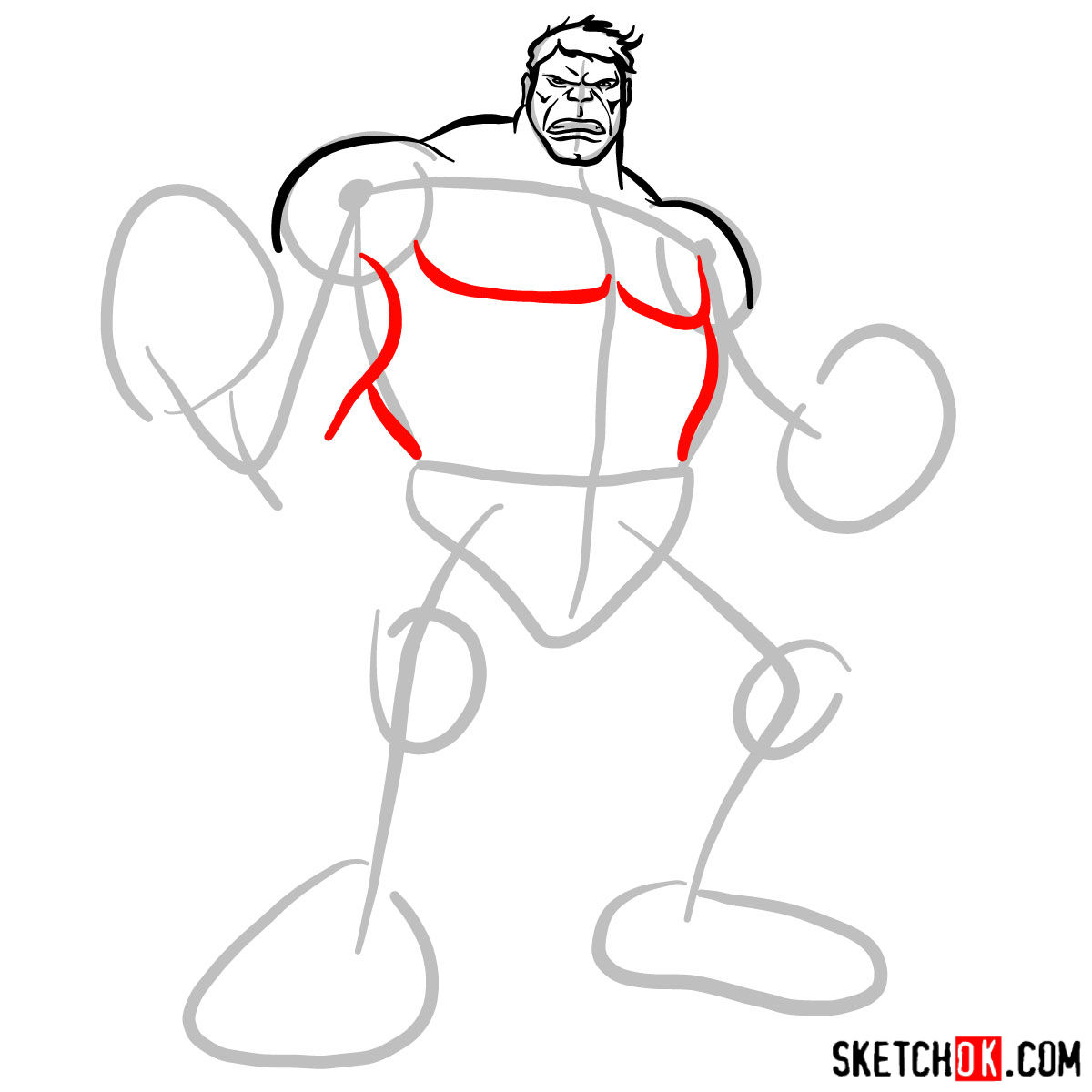 How to draw The Hulk - step 05
