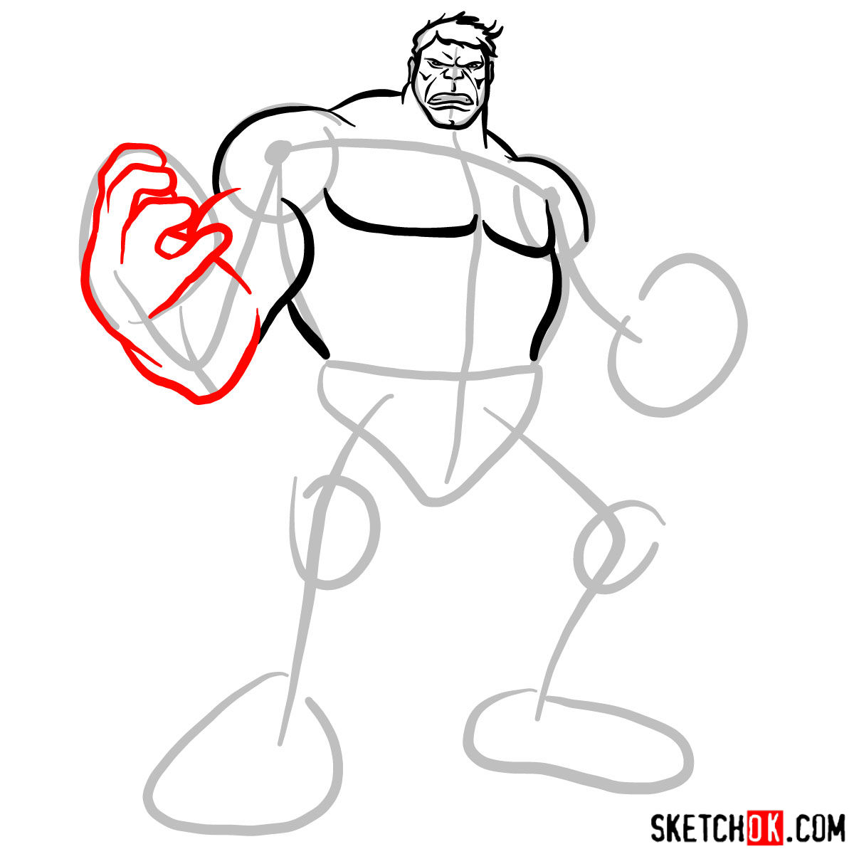 How to draw The Hulk -  step 06