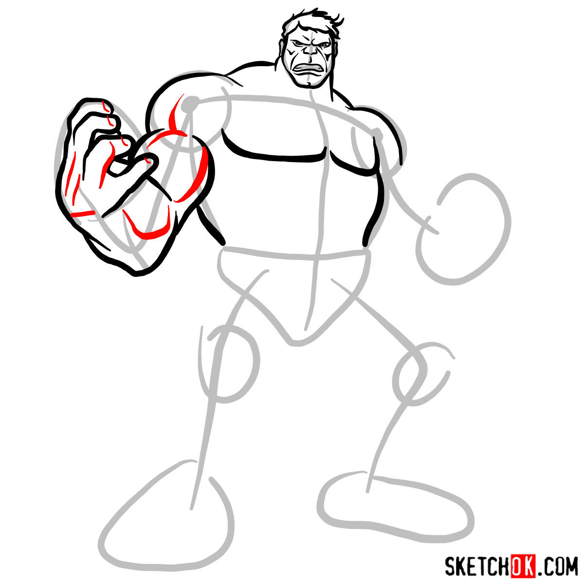 How to draw The Hulk - step 07