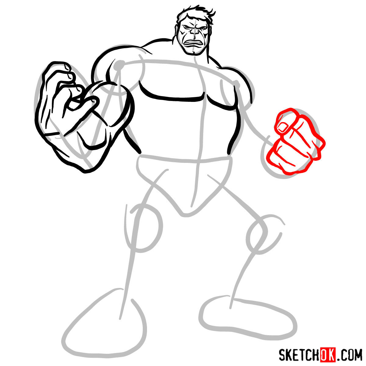 How to draw The Hulk - step 08