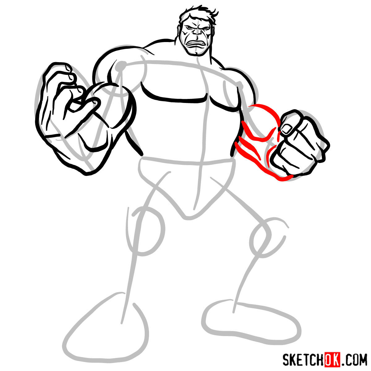 How to draw The Hulk - step 09