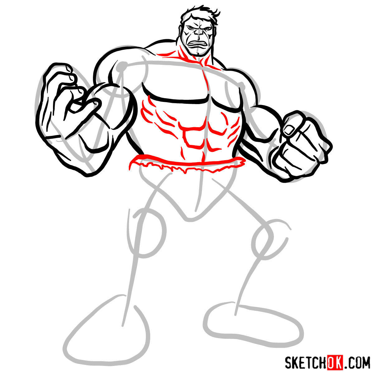 How to draw The Hulk - step 10