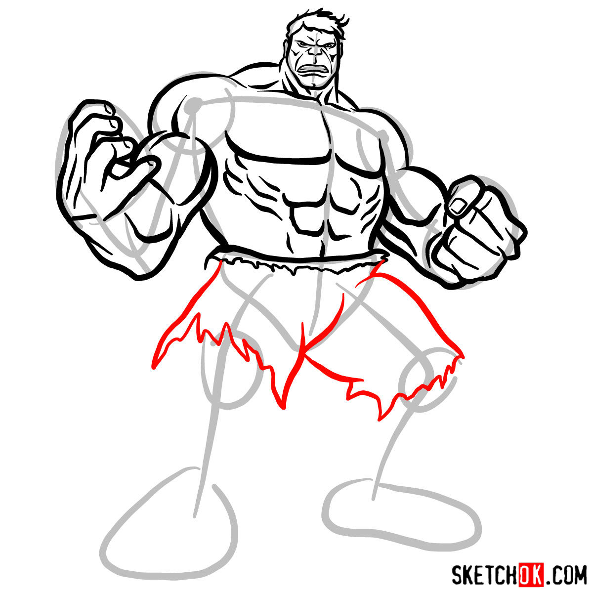 How to draw The Hulk - step 11