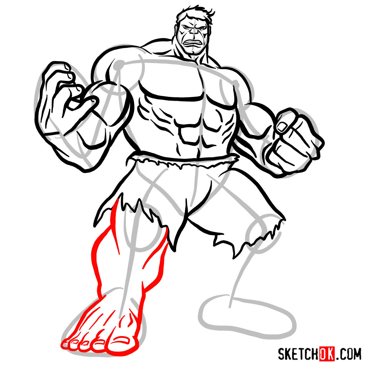 How to draw The Hulk - step 12