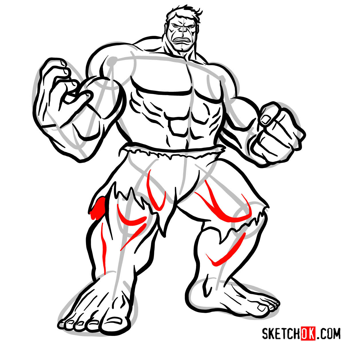 How to draw The Hulk - step 14