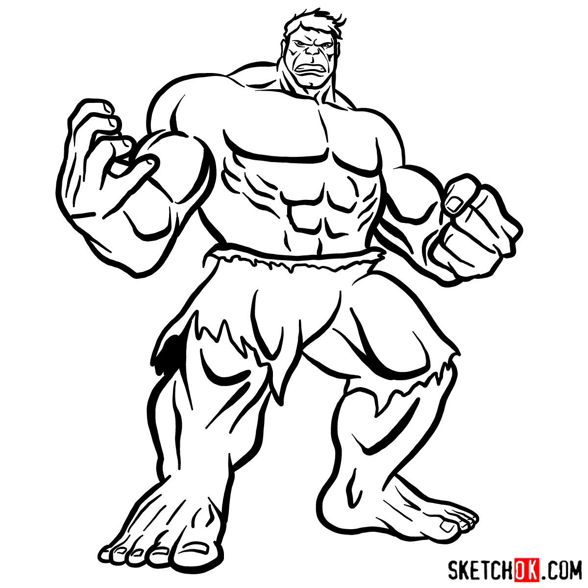 How to draw The Hulk - step 15