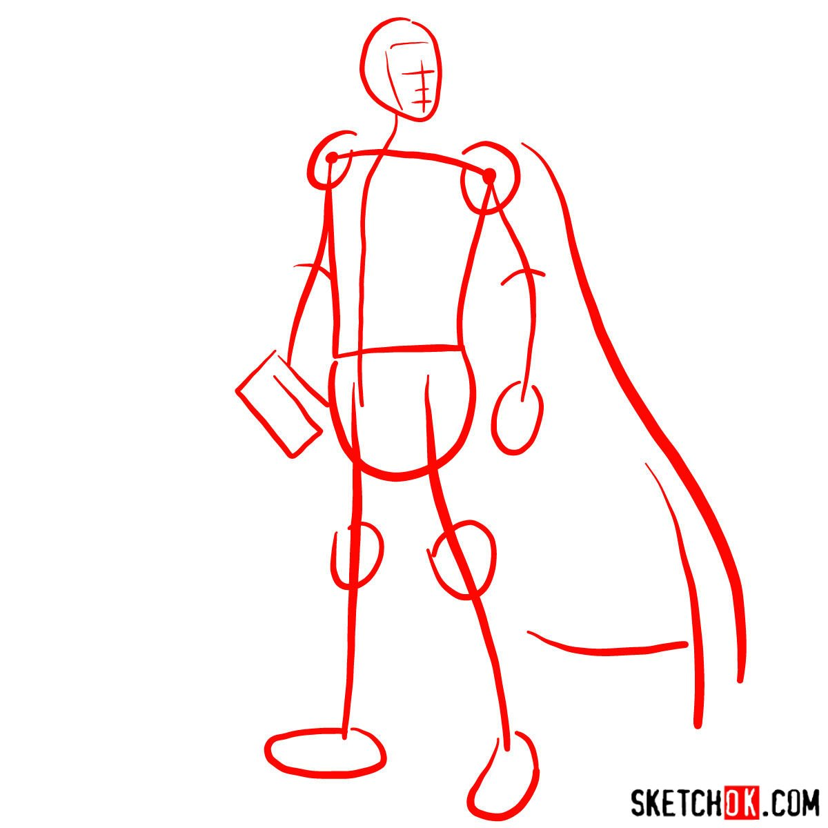 How to draw Thor Odinson (Chris Hemsworth) - step 01