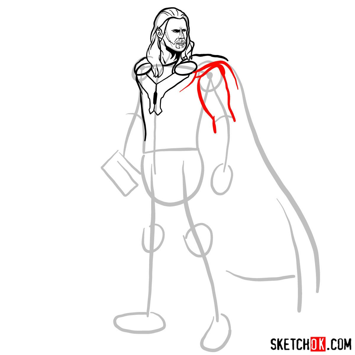 How to draw Thor Odinson (Chris Hemsworth) - step 08