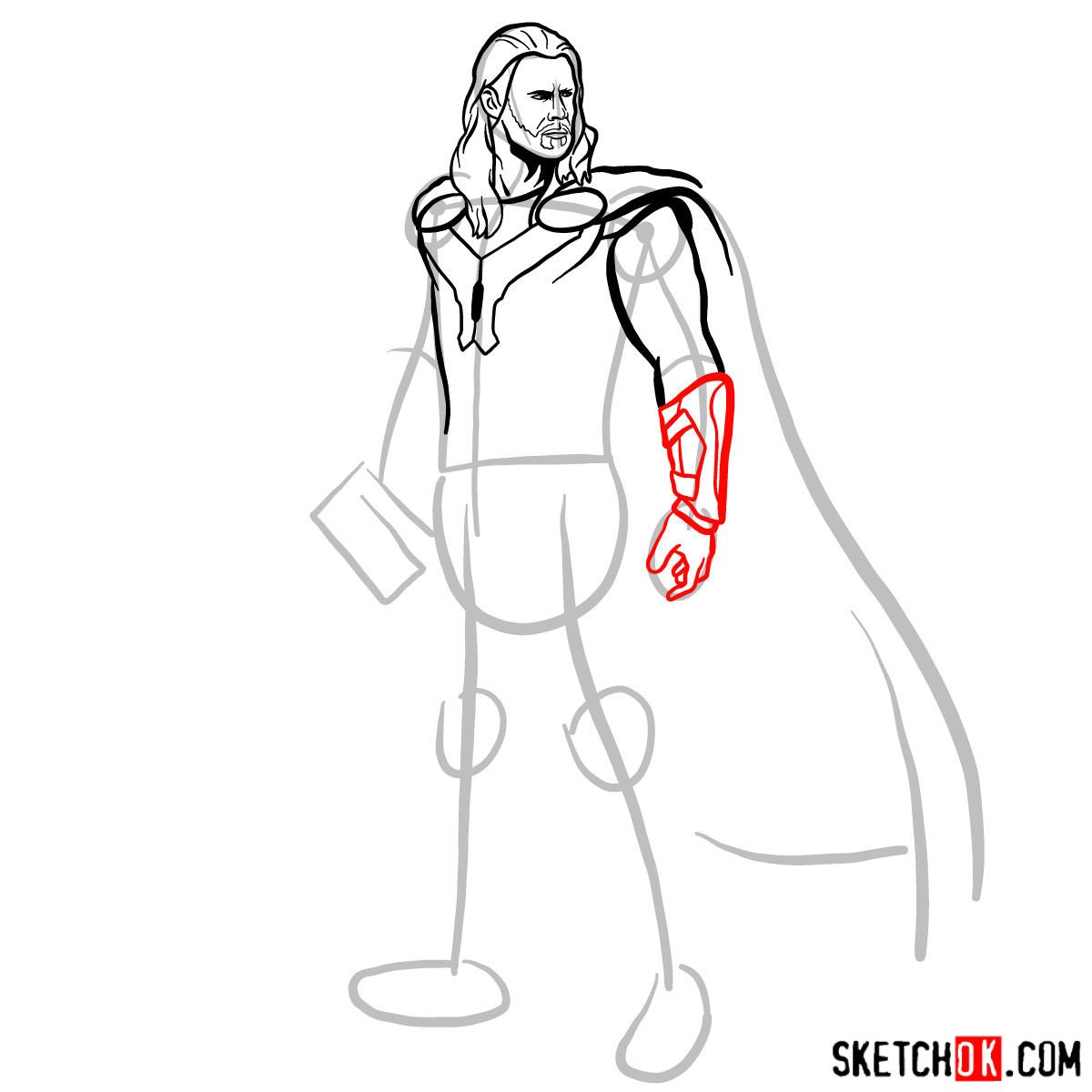 How to draw Thor Odinson (Chris Hemsworth) - step 09