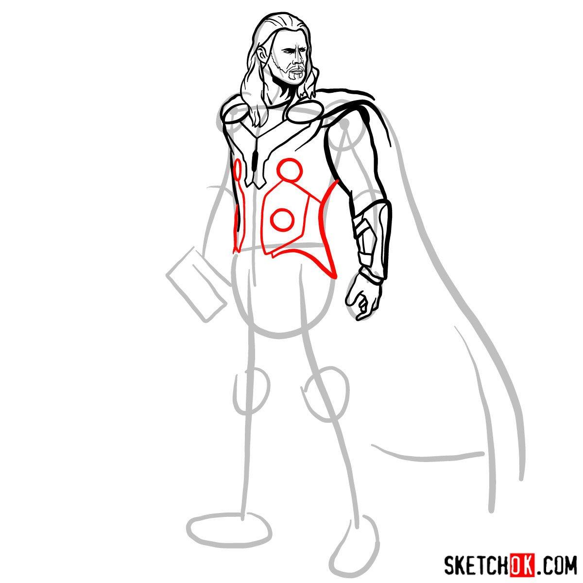 How to draw Thor Odinson (Chris Hemsworth) - step 10