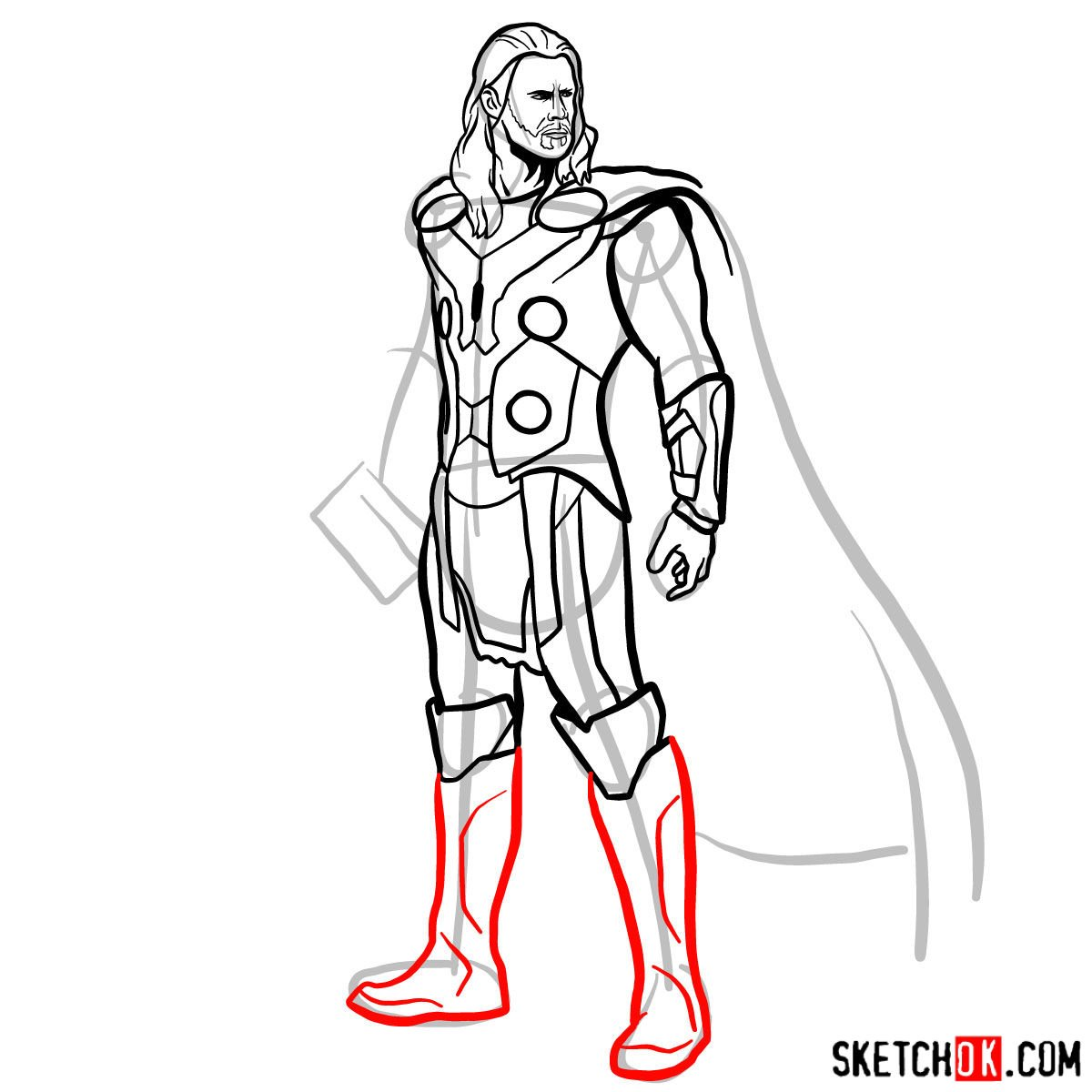 how to draw thor step by step