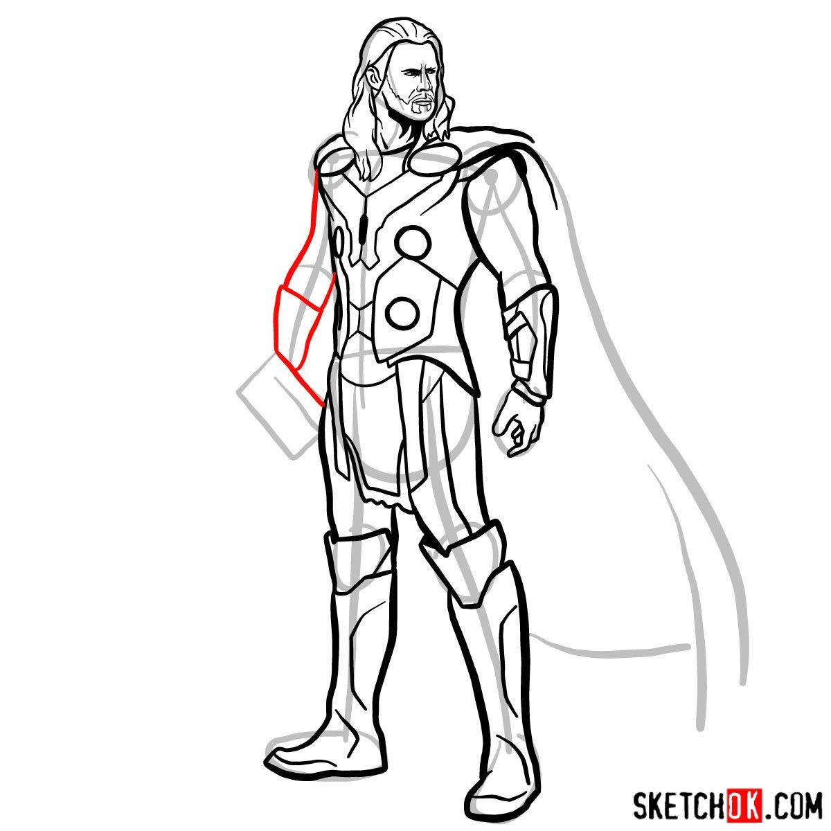 How to draw Thor Odinson (Chris Hemsworth) - step 14