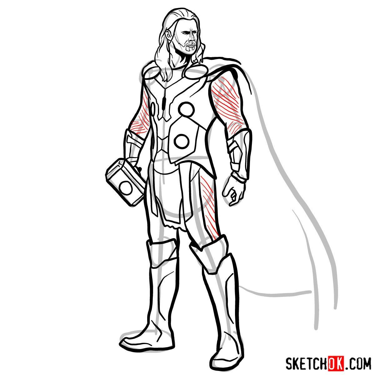 How to draw Thor Odinson (Chris Hemsworth) - step 16