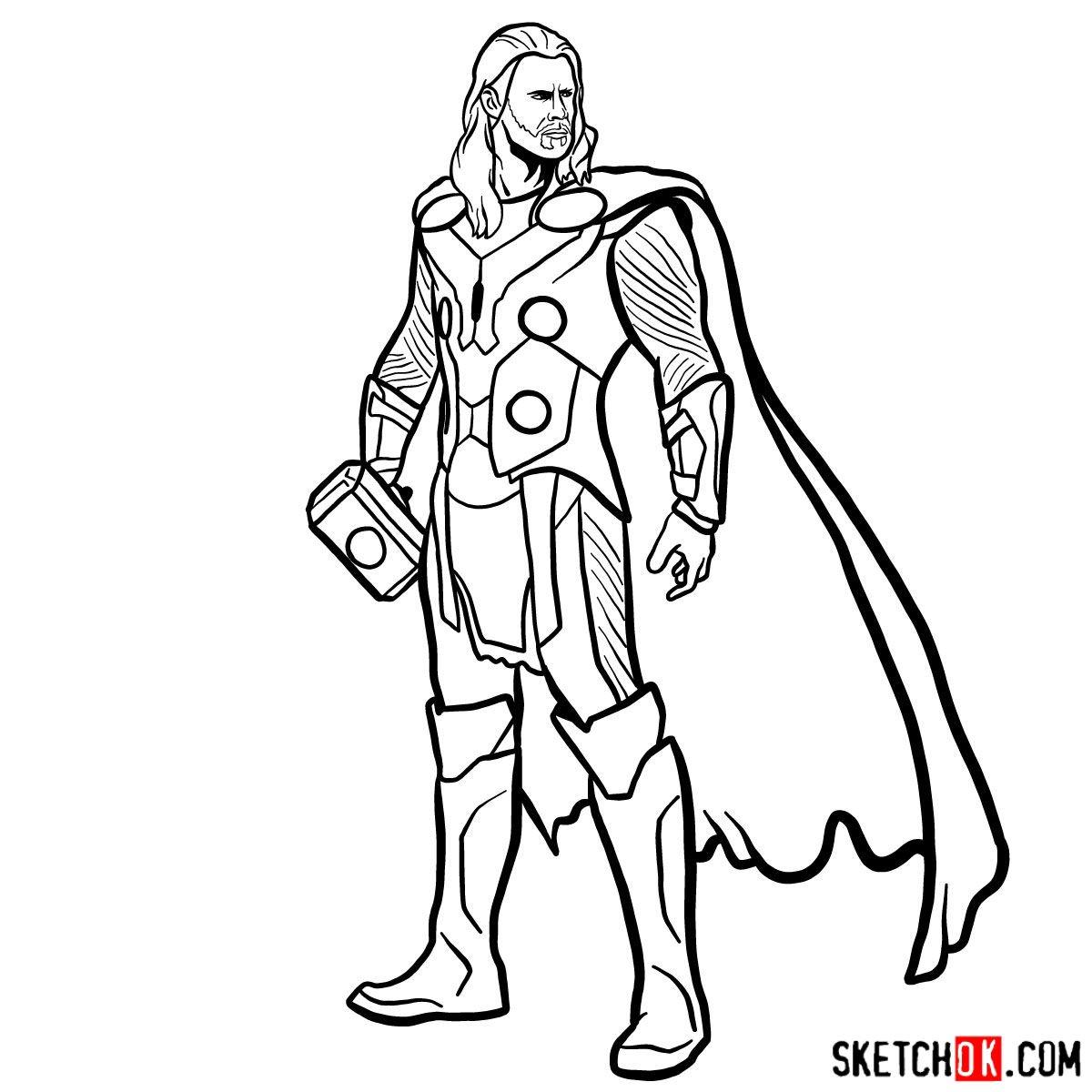 How to draw Thor Odinson (Chris Hemsworth) - step 18