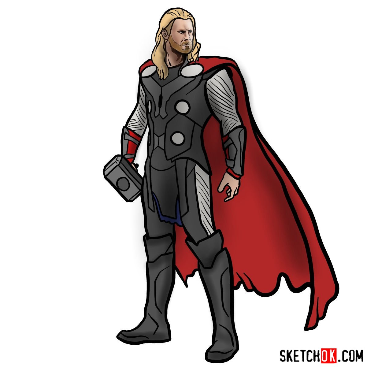 How to draw Thor Odinson (Chris Hemsworth)