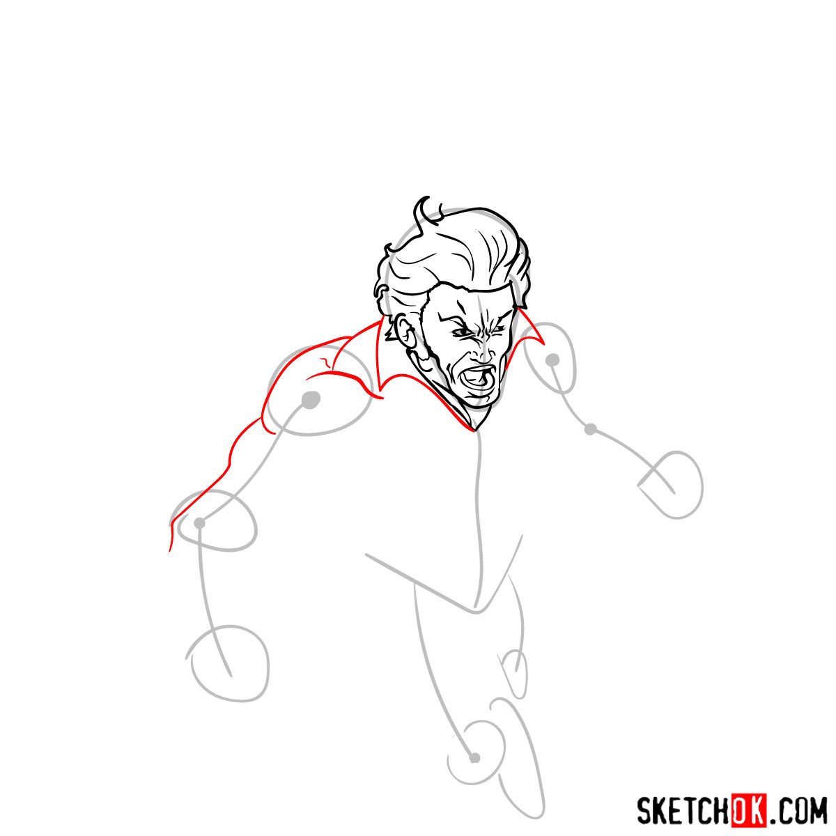 How to draw Banshee mutant from X-Men - 