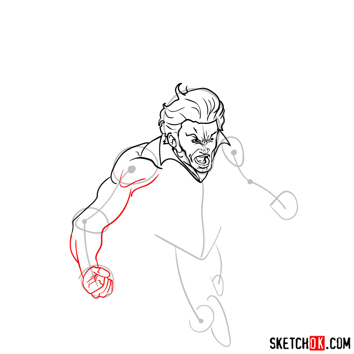 How to draw Banshee mutant from X-Men - step 07