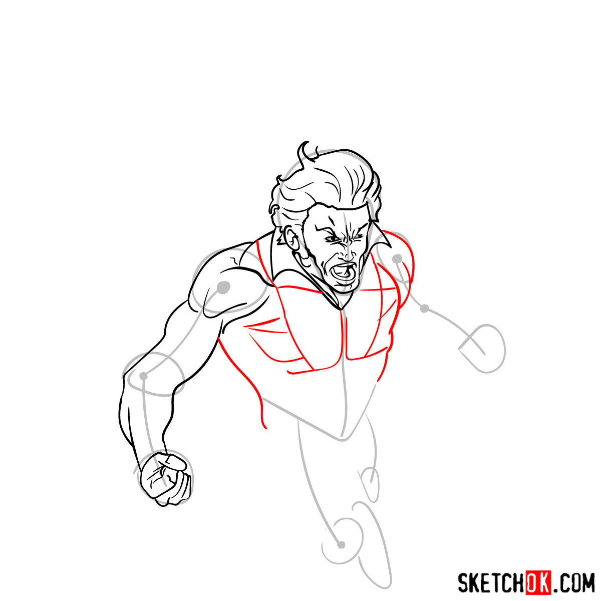 How to draw Banshee mutant from X-Men - step 08
